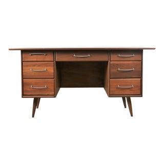 Mid Century Solid Walnut Desk For Sale