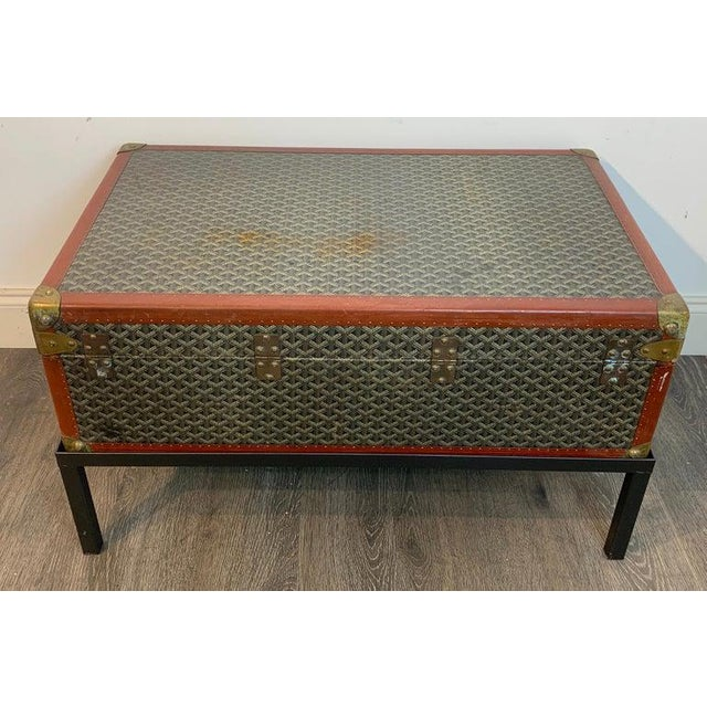 French Vintage Goyard Hardcase Trunk on Iron Stand For Sale - Image 3 of 13