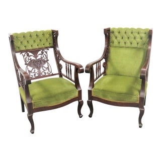 Victorian Carved Ladies & Gentleman Chairs - a Pair