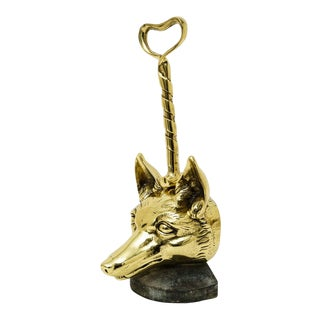Door Stop England 1920s Polished Brass Foxhead With Riding Crop Doorstop For Sale