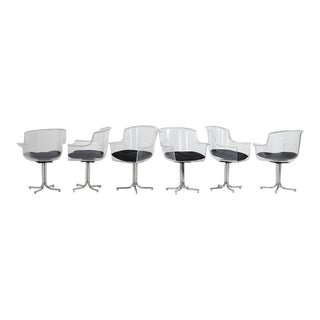 Lucite and Chrome Chairs by Leon Rosen for Pace Collection - Set of 6 For Sale