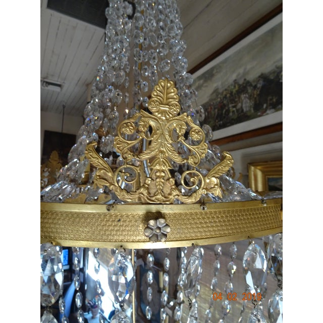 Traditional 19th Century French Empire Crystal Chandelier For Sale - Image 3 of 13