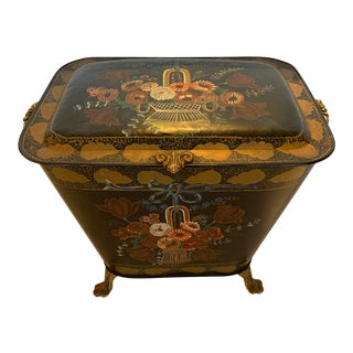 Antique French Tole and Brass Hand Painted Coal Scuttle For Sale