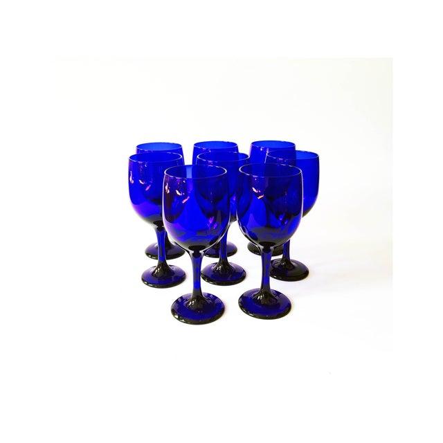 Vintage Cobalt Blue Wine Glasses - Set of 8 - Image 2 of 5