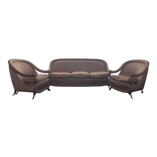 Mid Century Italian Made Couch and Club Chairs - Set of 3 For Sale
