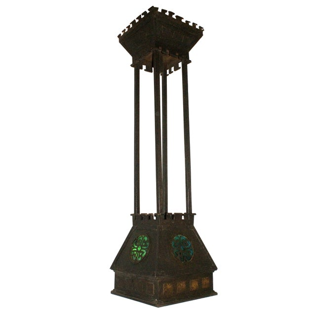 Arts and Crafts Style Hammered Metal Hanging Light For Sale In New York - Image 6 of 6