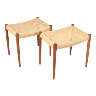 1960s Vintage Danish Modern Teak Niels Moller 80a Cord Seat Stools Ottomans- A Pair For Sale