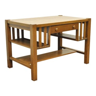 Antique Mission Arts and Crafts Oak Writing Library Desk Table Bookcase Sides For Sale