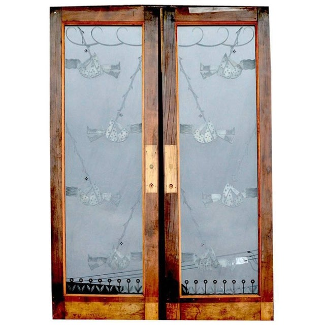 Pair of Art Deco Etched Glass Doors For Sale - Image 10 of 10