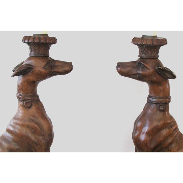 Pair of Italian Hand-Carved Wooden Whippets/Greyhounds Mounted as Lamps - a Pair For Sale In San Francisco - Image 6 of 11