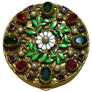 1920s Austrian Jeweled and Enameled Powder Compact For Sale
