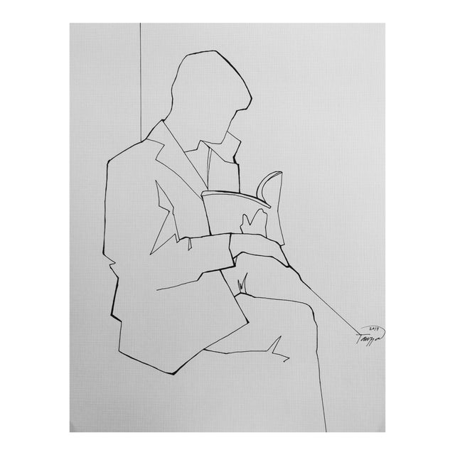 """Book on a Train"" Minimalist Line Drawing For Sale"