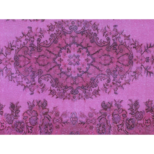 1970s Vintage Overdyed Distressed Turkish Rug - 5′7″ × 8′1″ For Sale - Image 4 of 6