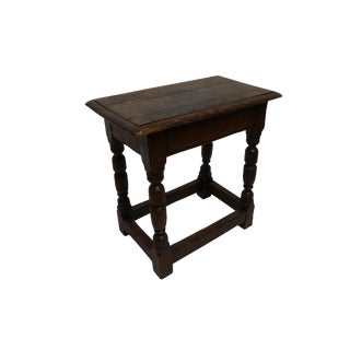 Antique Oak Stool, English 19th Century For Sale