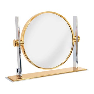 Karl Springer Polished Steel & Brass Vanity Mirror For Sale