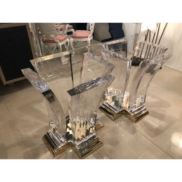 Vintage Jeffrey Bigelow Hollywood Regency Lucite and Brass Dining Table Bases - A Pair For Sale - Image 12 of 13