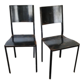 Vintage French Forged Metal Side Chairs - a Pair For Sale