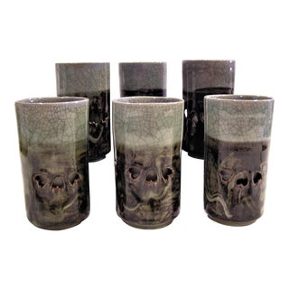 1960 Vintage Handmade Crackle Glaze Pottery Double Walled Highball Glasses - Set of 6 For Sale