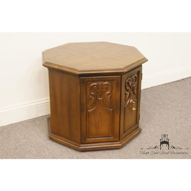 Traditional American of Martinsville Octagonal Storage End Table For Sale - Image 3 of 10