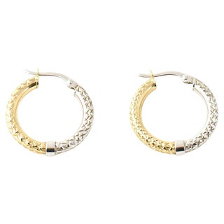 20th Century Contemporary 14k Two-Tone White & Yellow Gold Hoop Earrings - a Pair For Sale