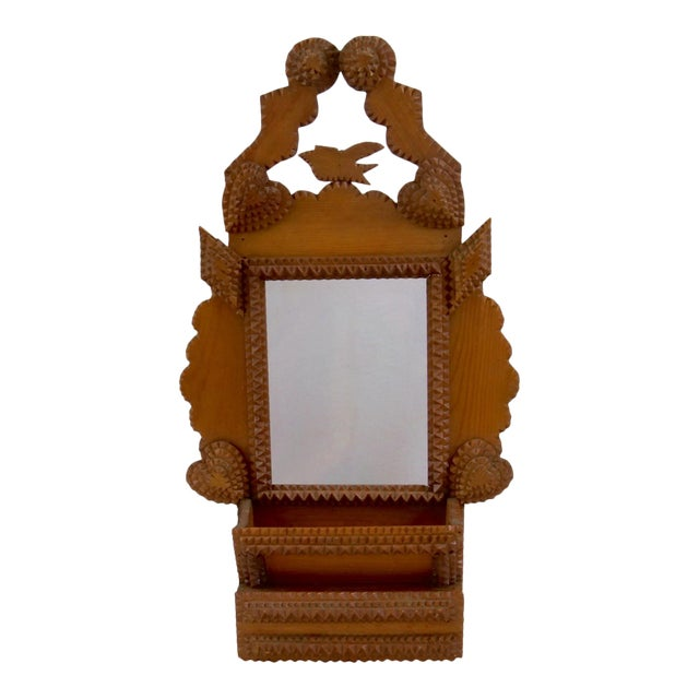 Tramp Art Wood Bird, Diamonds, Hearts Antique Frame Wall Storage For Sale
