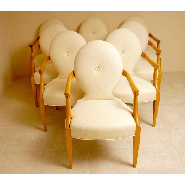 "John Hutton for Donghia 1980 ""Casper"" Maple Wood Dining Chairs - Set of 8 - Image 2 of 9"