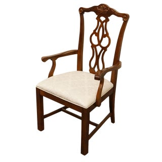 Stanley Furniture Chippendale Solid Cherry Dining Arm Chair For Sale