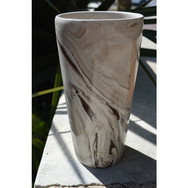 Marbled White & Brown Vase For Sale - Image 4 of 5