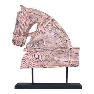 1960s Architectural Hand Carved Wood Horse For Sale