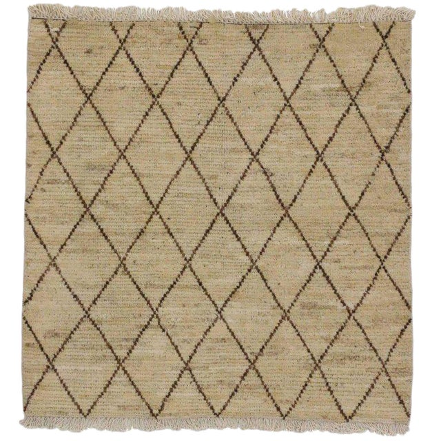 Modern Moroccan Style Accent Rug in Warm Colors For Sale