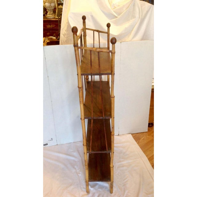 Wood 19th Century English Bamboo Bookstand / Étagère For Sale - Image 7 of 13