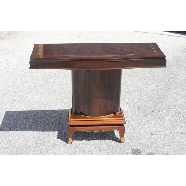 French Art Deco Palisander Console Tables by Jules Leleu, circa 1930s. - Image 2 of 11