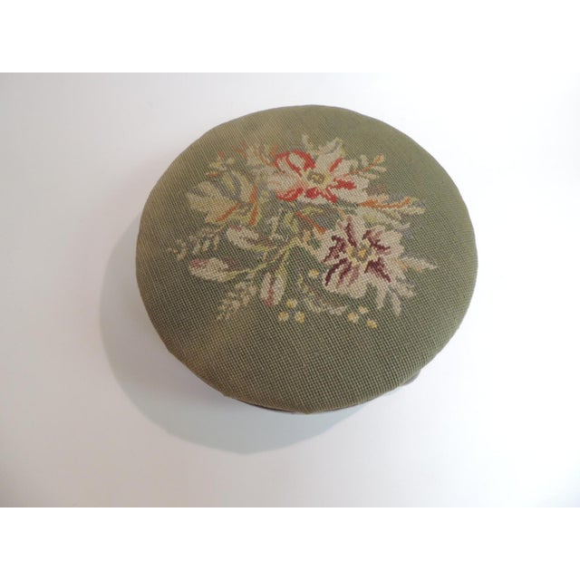 Antique Round Tapestry Upholstered Stool Antique round tapestry upholstered stool. Green tapestry depicting flowers in...