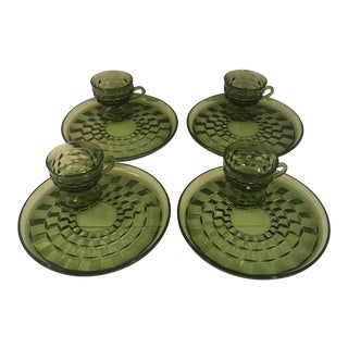 1960s Vintage Green Fostoria Snack Plates & Tea Cups- Set of 8 For Sale