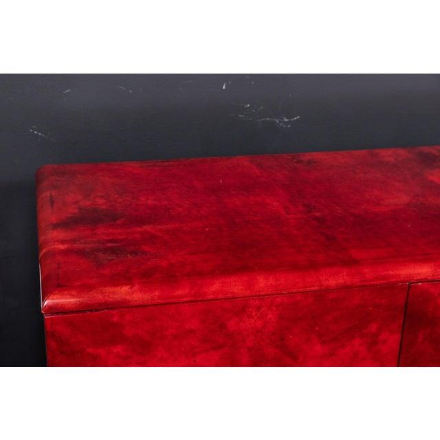 Aldo Tura Rare Aldo Tura Goatskin Cabinet/Sideboard For Sale - Image 4 of 8