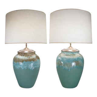 Large 1960s Glazed Ceramic Lamps - a Pair For Sale