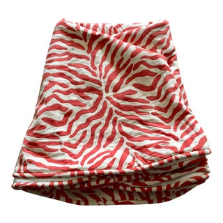 Custom Round Coral & White Zebra Pattern Tablecloth For Sale
