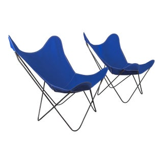 Pair of Bkf Hardoy Butterfly Chairs for Knoll in Cobalt Blue For Sale