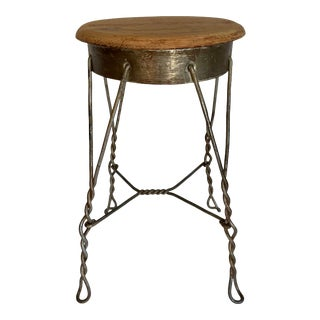 Vintage Industrial Rustic Twisted Metal and Wood Stool For Sale