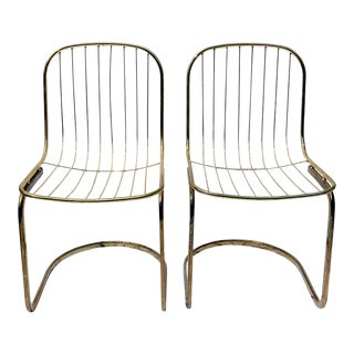 Gastone Rinaldi Style Brass Cantilever Chairs - a Pair For Sale