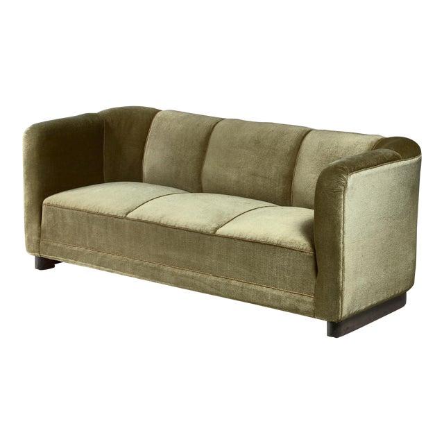 Ole Wanscher Green Velour Sofa for Fritz Hansen, Denmark For Sale