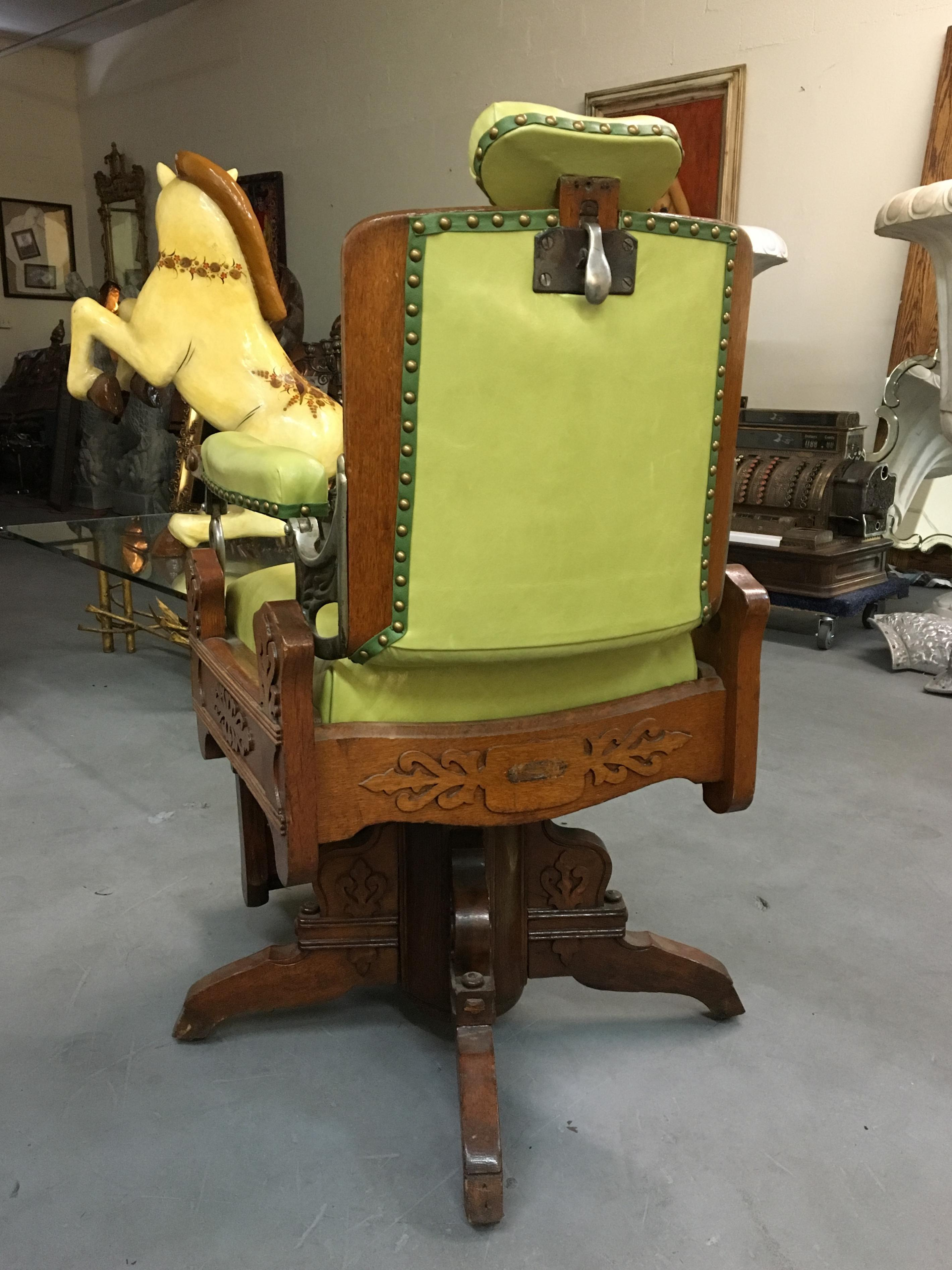 Animal Skin Antique Koken Oak u0026 Green Leather Barber Chair For Sale - Image 7 of  sc 1 st  Chairish & Antique Koken Oak u0026 Green Leather Barber Chair | Chairish