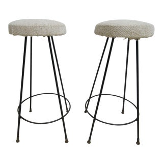 Mid-Century Hair Pin Swivel Counter Stools Chairs - A Pair