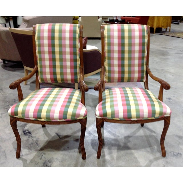 Green Modern French Style Arm Chair Multi Plaid Fabric - A Pair For Sale - Image 8 of 8