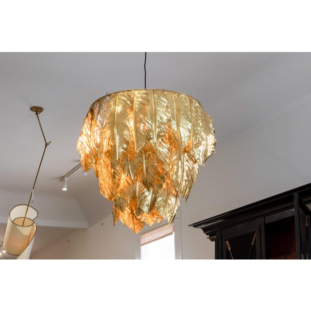 Hand Cut Brass Leaf Small Chandelier For Sale - Image 4 of 4