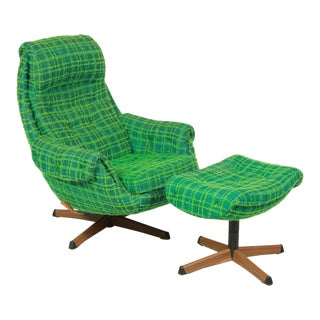 Gote Mobler Nassjo Plaid Lounger Chair and Ottman For Sale