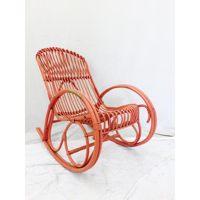 Vintage F. Albini Orange Rattan Rocking Chair - Image 6 of 6