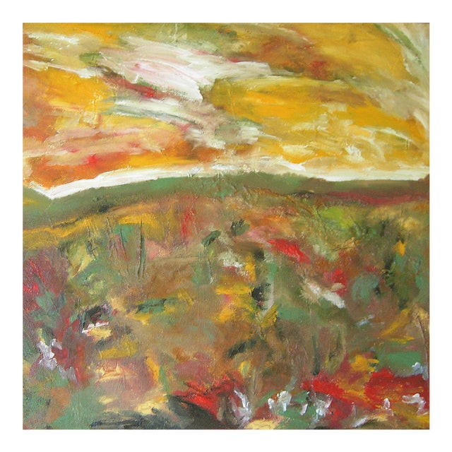 """Meadowscape"" Original Abstract Floral Landscape Painting - Red Green Yellow Wall Art Decor For Sale"