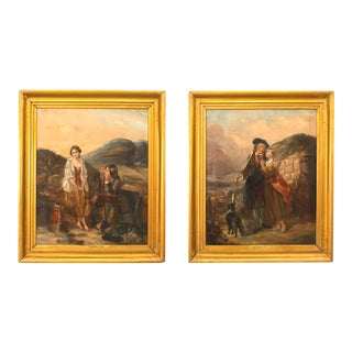 Pair of English Victorian Gilt Framed Oil Portraits 'Richard Ansdell Ra' For Sale