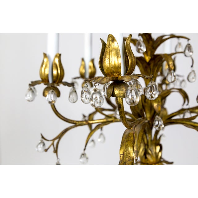 Palm Beach Style Gilt Leaves and Grape Crystal Chandelier For Sale - Image 11 of 13